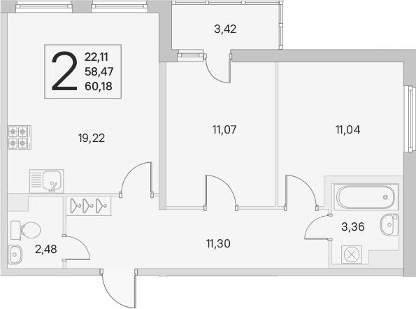 3Е-к.кв, 58.47 м², 1 этаж