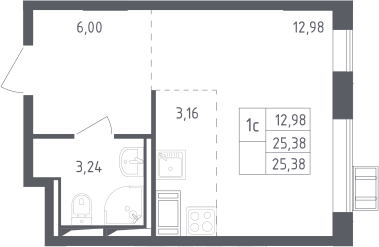 Студия, 25.38 м², 12 этаж