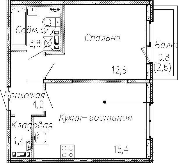 2Е-к.кв, 37.2 м², 2 этаж