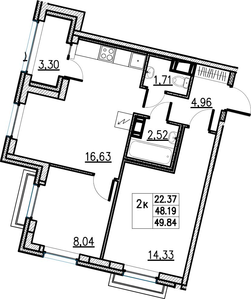 3Е-комнатная, 49.84 м²– 2