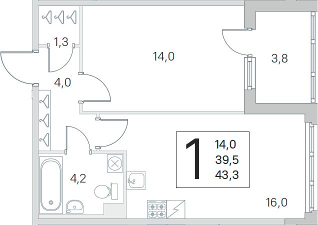 2Е-комнатная, 39.5 м²– 2