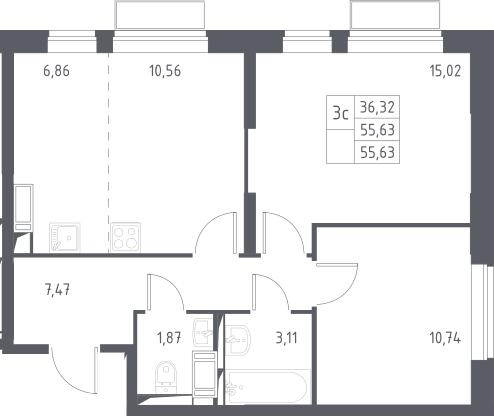 3Е-комнатная, 55.63 м²– 2