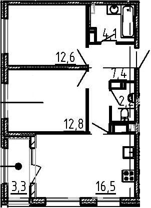3Е-к.кв, 57.3 м²