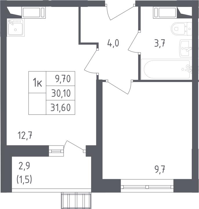 1-к.кв, 31.6 м², 3 этаж