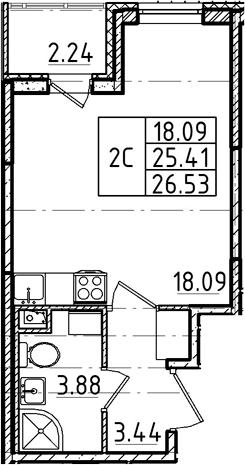 Студия, 25.41 м²– 2
