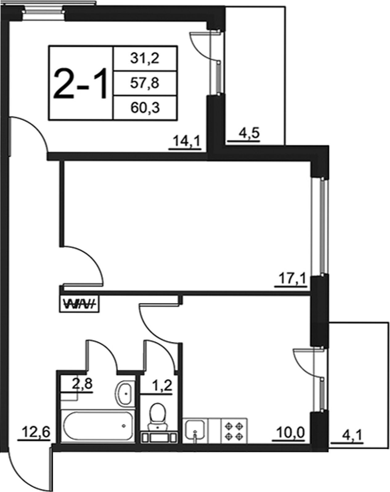 2-к.кв, 66.32 м²