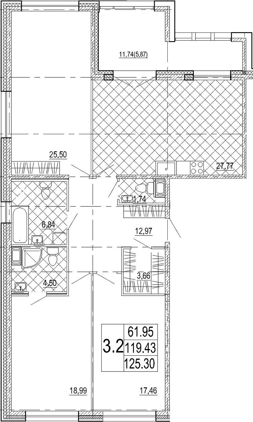 4Е-к.кв, 125.3 м², 5 этаж