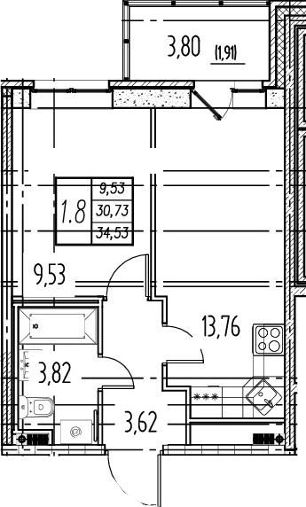 2Е-к.кв, 30.73 м²