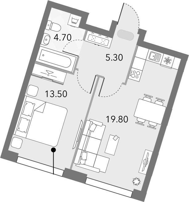 2Е-комнатная квартира, 43.3 м², 2 этаж – Планировка