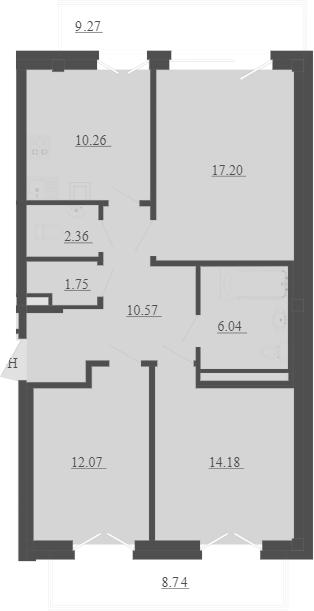 3-к.кв, 79.83 м², 2 этаж