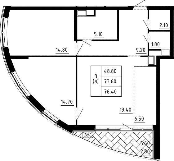 3Е-комнатная, 76.4 м²– 2