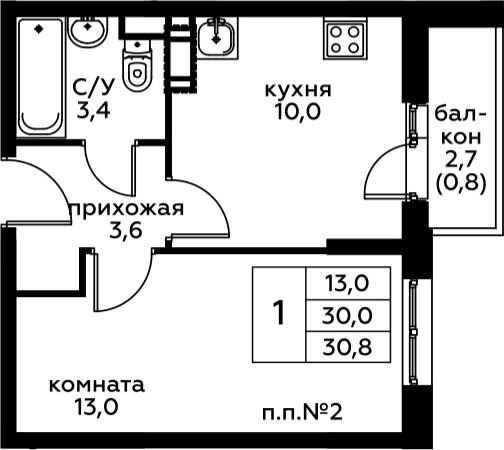 1-к.кв, 32.67 м²