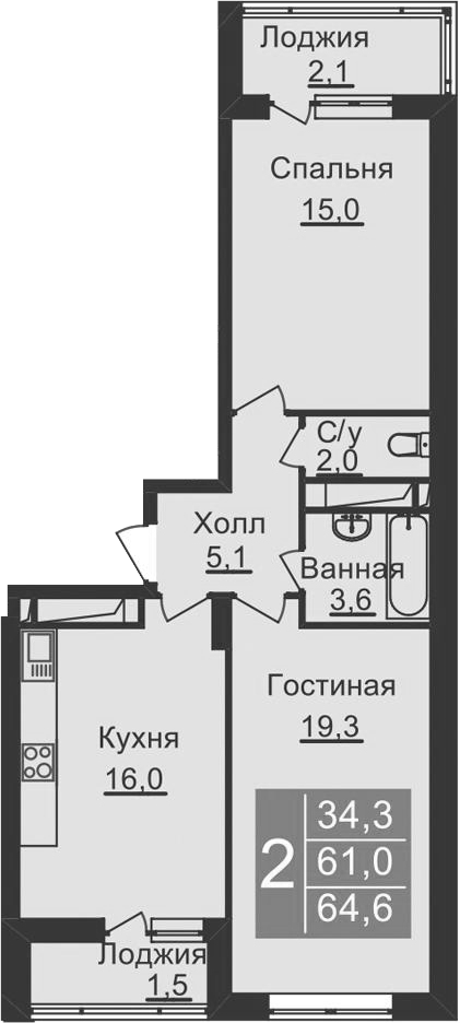 3-комнатная квартира (евро), 68.2 м², 10 этаж – Планировка