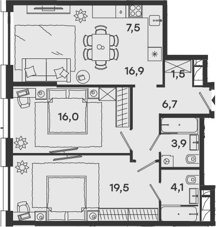 3Е-комнатная, 76.1 м²– 2