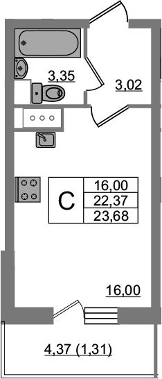Студия, 23.68 м², 3 этаж