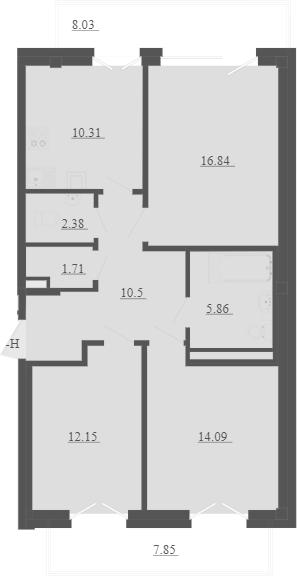 3-к.кв, 78.61 м², 3 этаж