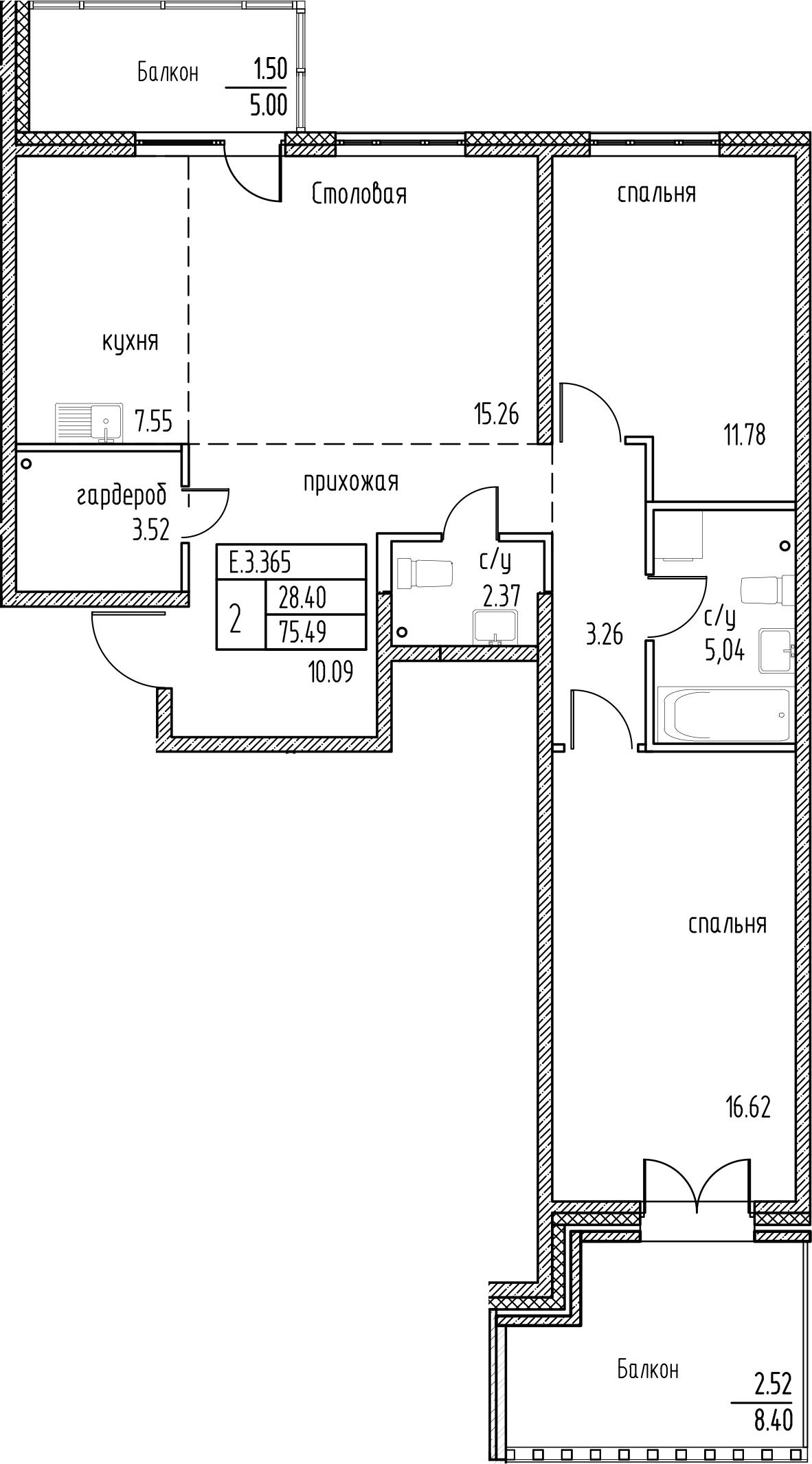 2-к.кв, 88.89 м²