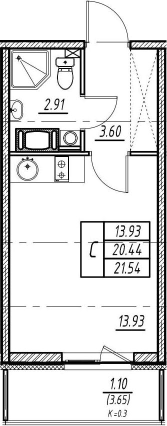 Студия, 20.44 м²