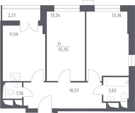 3Е-комнатная, 55.55 м²– 2