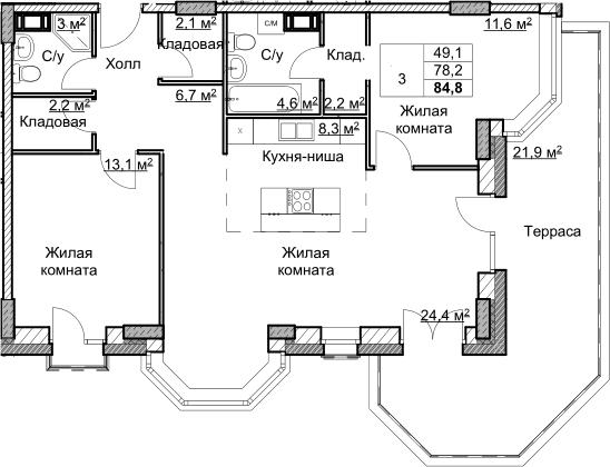 3Е-комнатная, 84.8 м²– 2