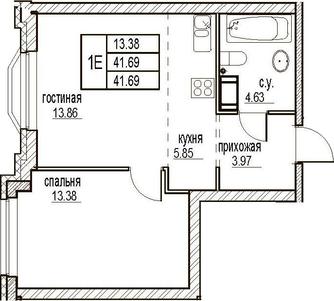 2Е-комнатная, 41.69 м²– 2