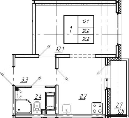 1-к.кв, 26.8 м², от 9 этажа