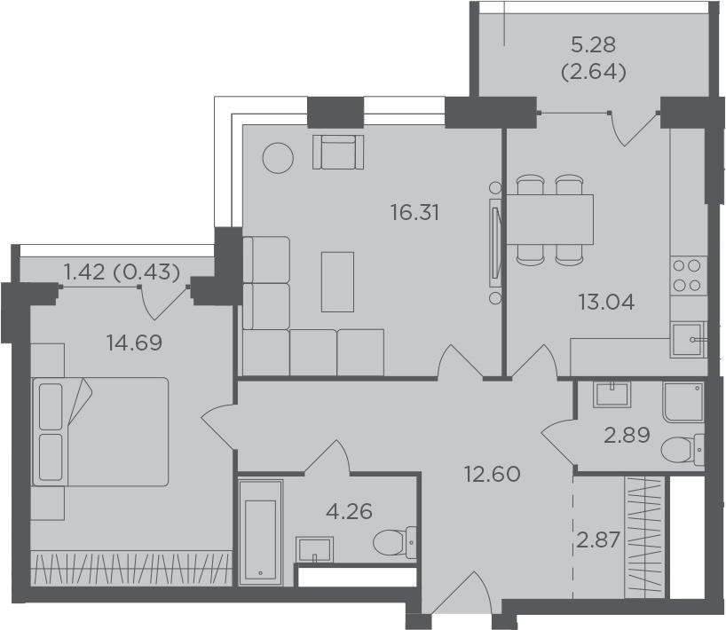 2-комнатная, 69.73 м²– 2