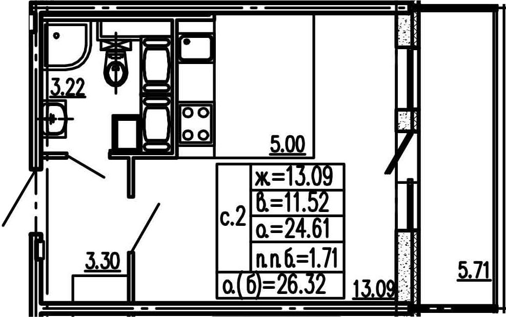 Студия, 24.61 м²– 2