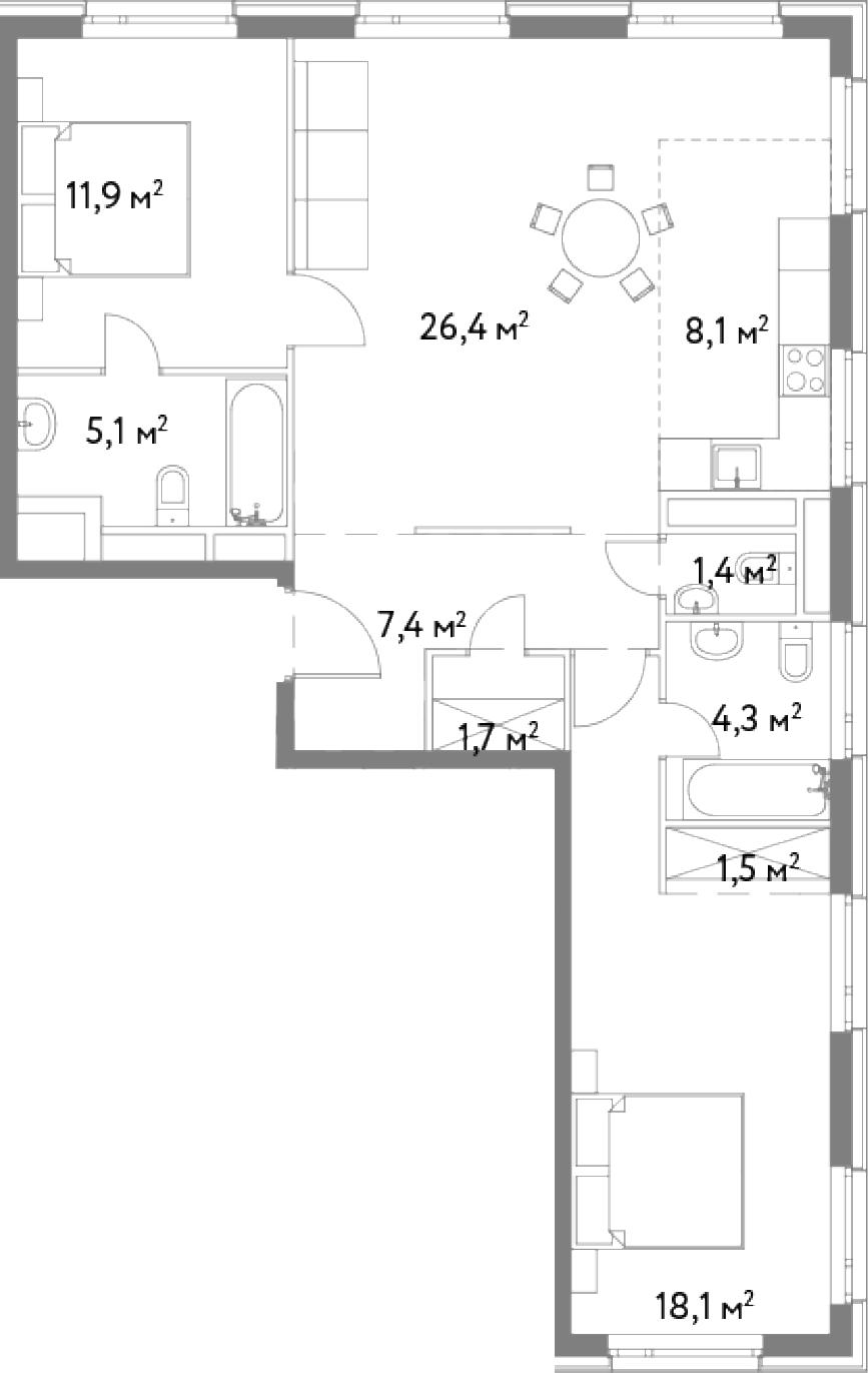 3-к.кв (евро), 85.9 м²