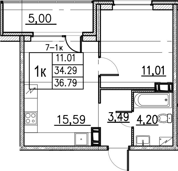 2Е-комнатная, 36.79 м²– 2