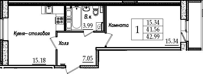 2-к.кв (евро), 44.41 м²