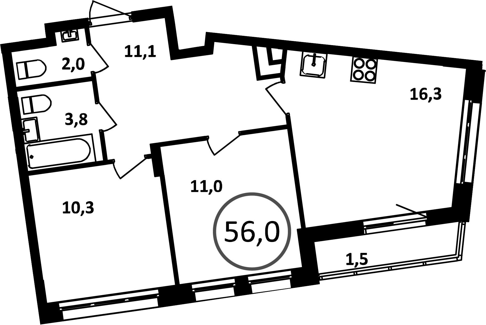 3Е-комнатная, 56 м²– 2