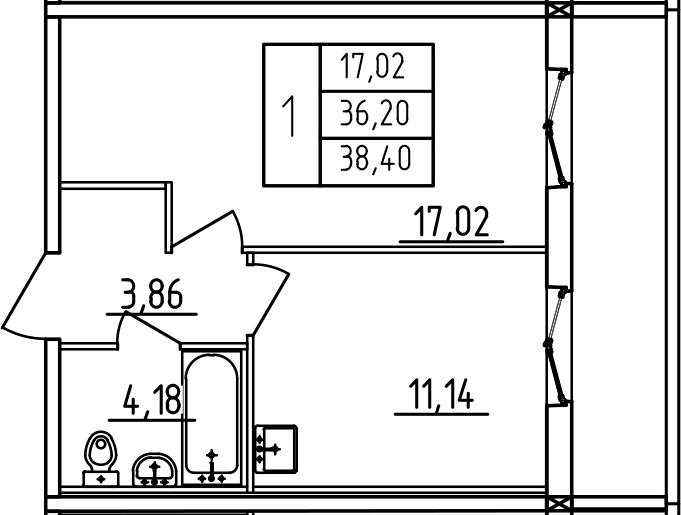 1-к.кв, 38.4 м², 2 этаж