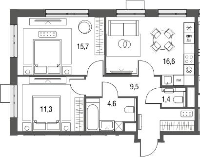 3Е-к.кв, 59.1 м², 2 этаж