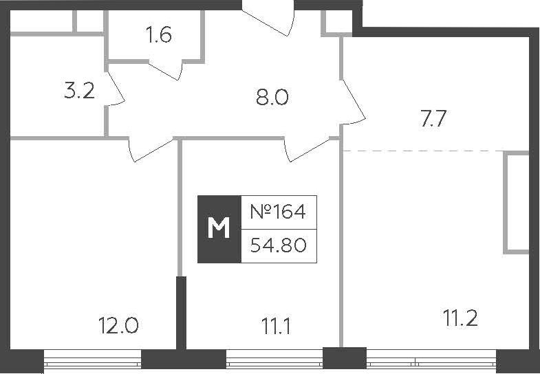 3-к.кв (евро), 54.8 м²