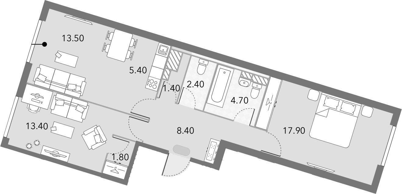 3Е-комнатная, 68.9 м²– 2