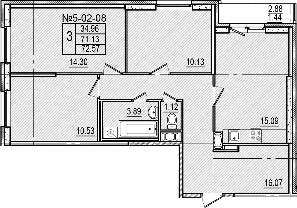 4-к.кв (евро), 74.01 м²