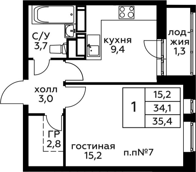 1-комнатная, 35.4 м²– 2