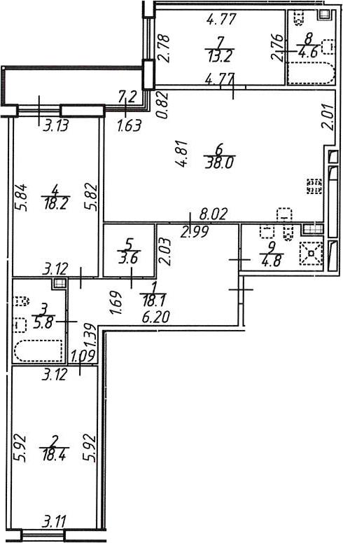 3-к.кв, 131.9 м²