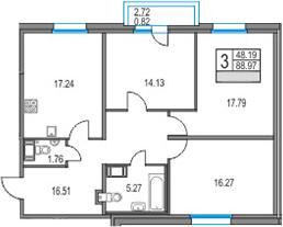 4Е-к.кв, 88.97 м², от 11 этажа