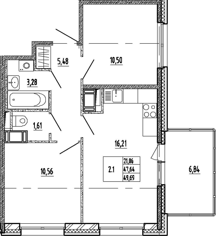 3-к.кв (евро), 54.48 м²
