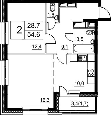 2Е-к.кв, 54.6 м²