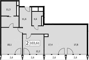 3Е-комнатная, 98.8 м²– 2