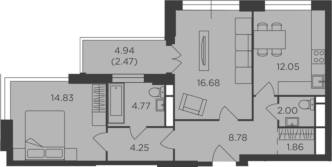 2-к.кв, 67.69 м², 13 этаж