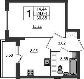 1-к.кв, 29.06 м²