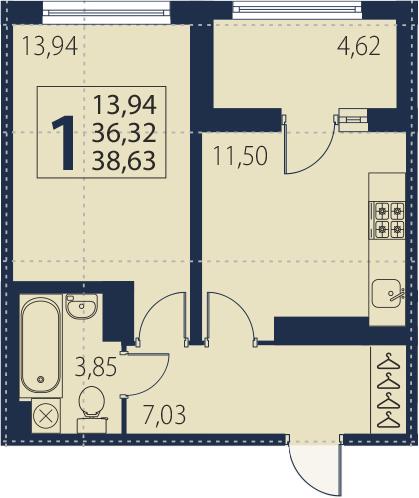 1-к.кв, 36.32 м², 19 этаж