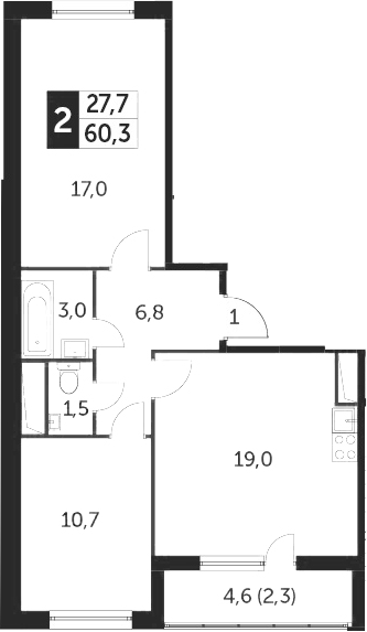 3Е-к.кв, 60.1 м²