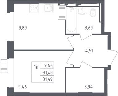 1-комнатная, 31.49 м²– 2
