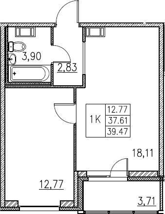 2Е-комнатная, 39.47 м²– 2