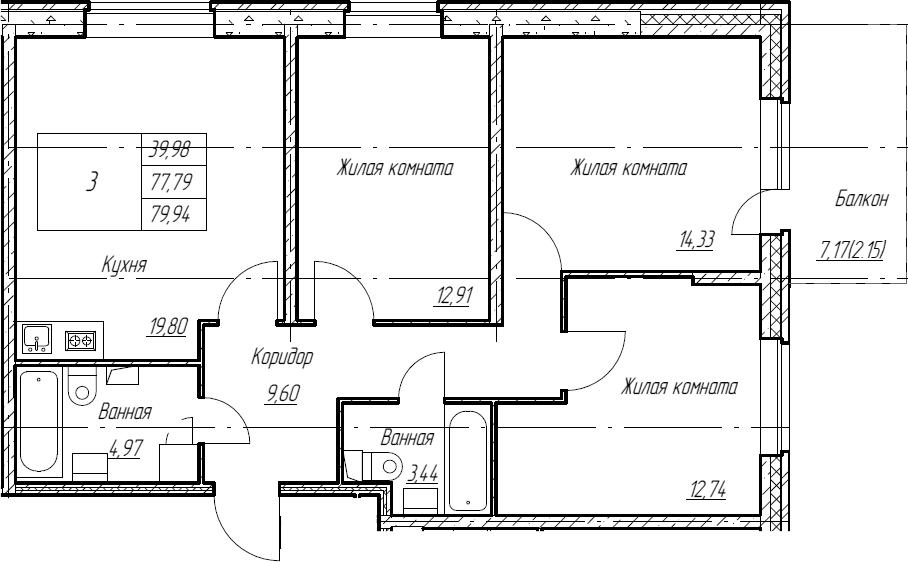 4Е-к.кв, 79.94 м², 2 этаж